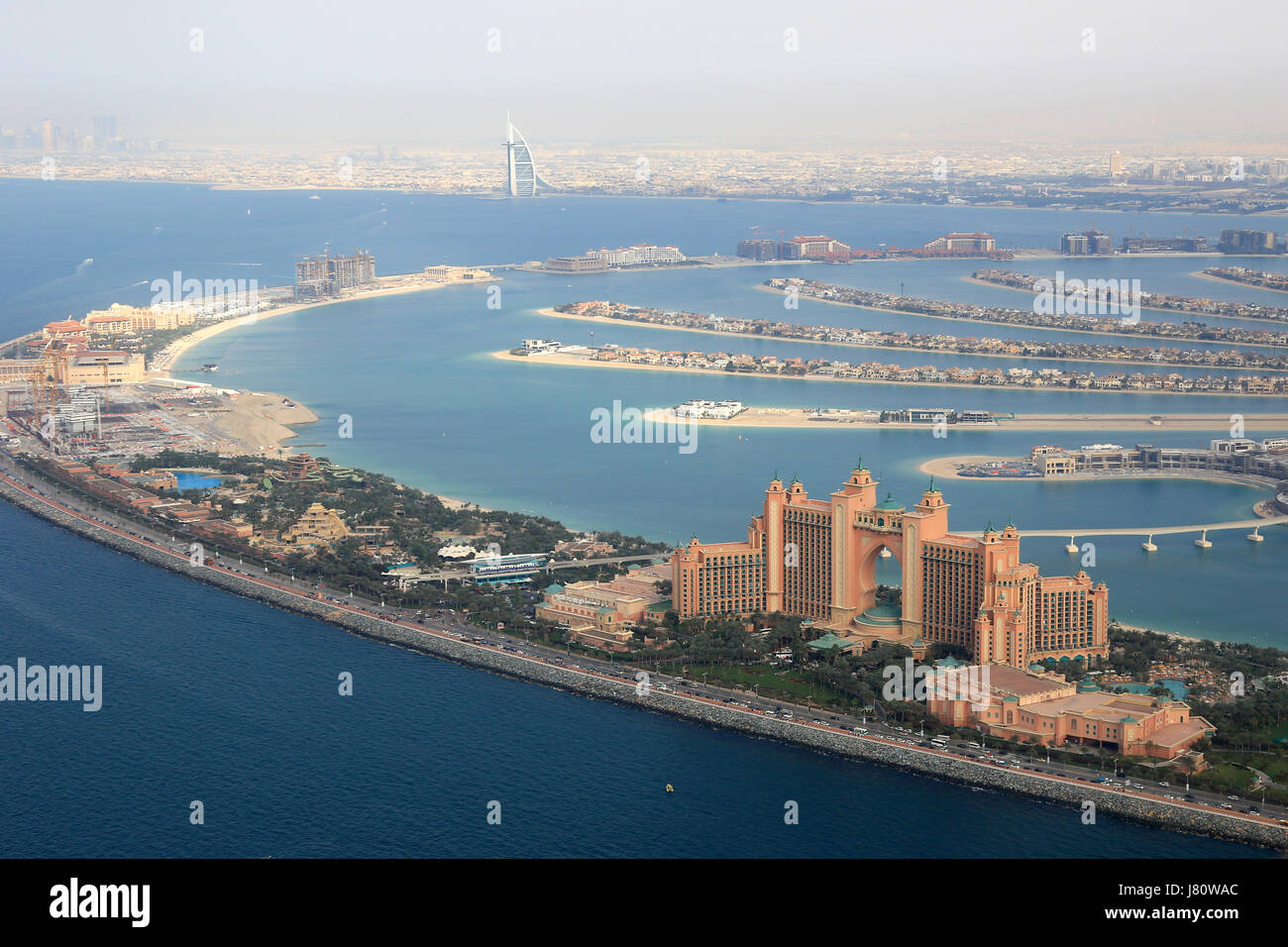Dubai The Palm Island Atlantis Hotel Burj Al Arab aerial view photography UAE - Stock Image