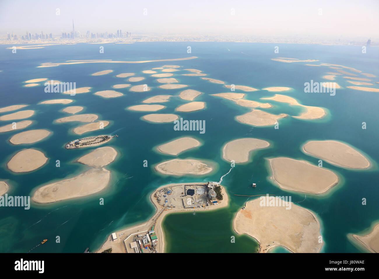 Dubai The World Islands Island panorama aerial view photography UAE - Stock Image