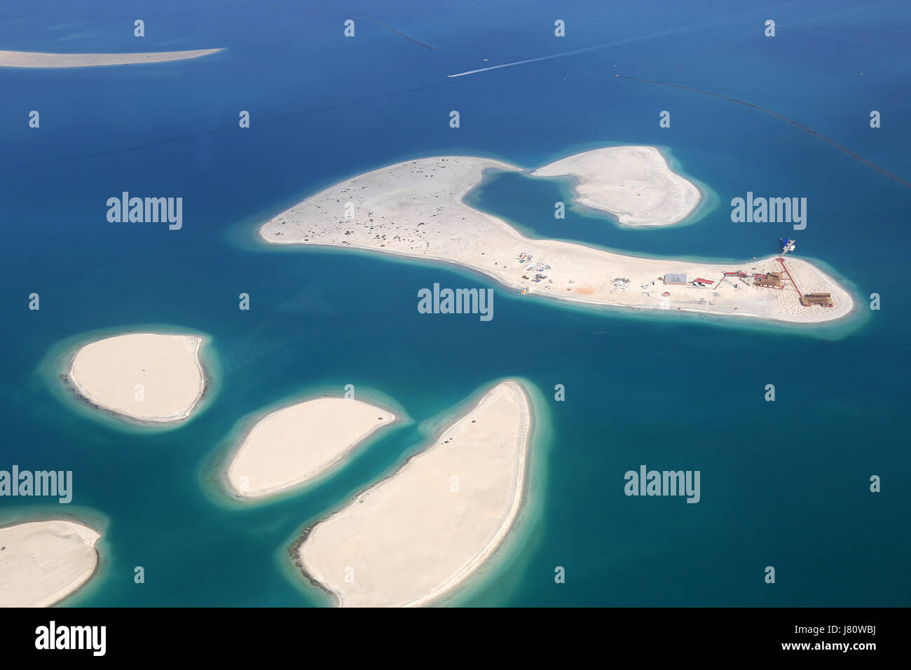 Dubai The World Clarence Island Islands aerial view photography UAE - Stock Image