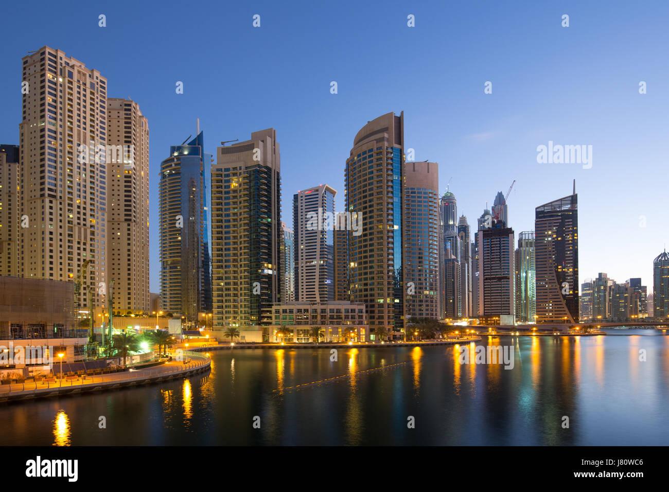 Dubai Marina skyscraper skyscrapers twilight night blue hour city UAE - Stock Image