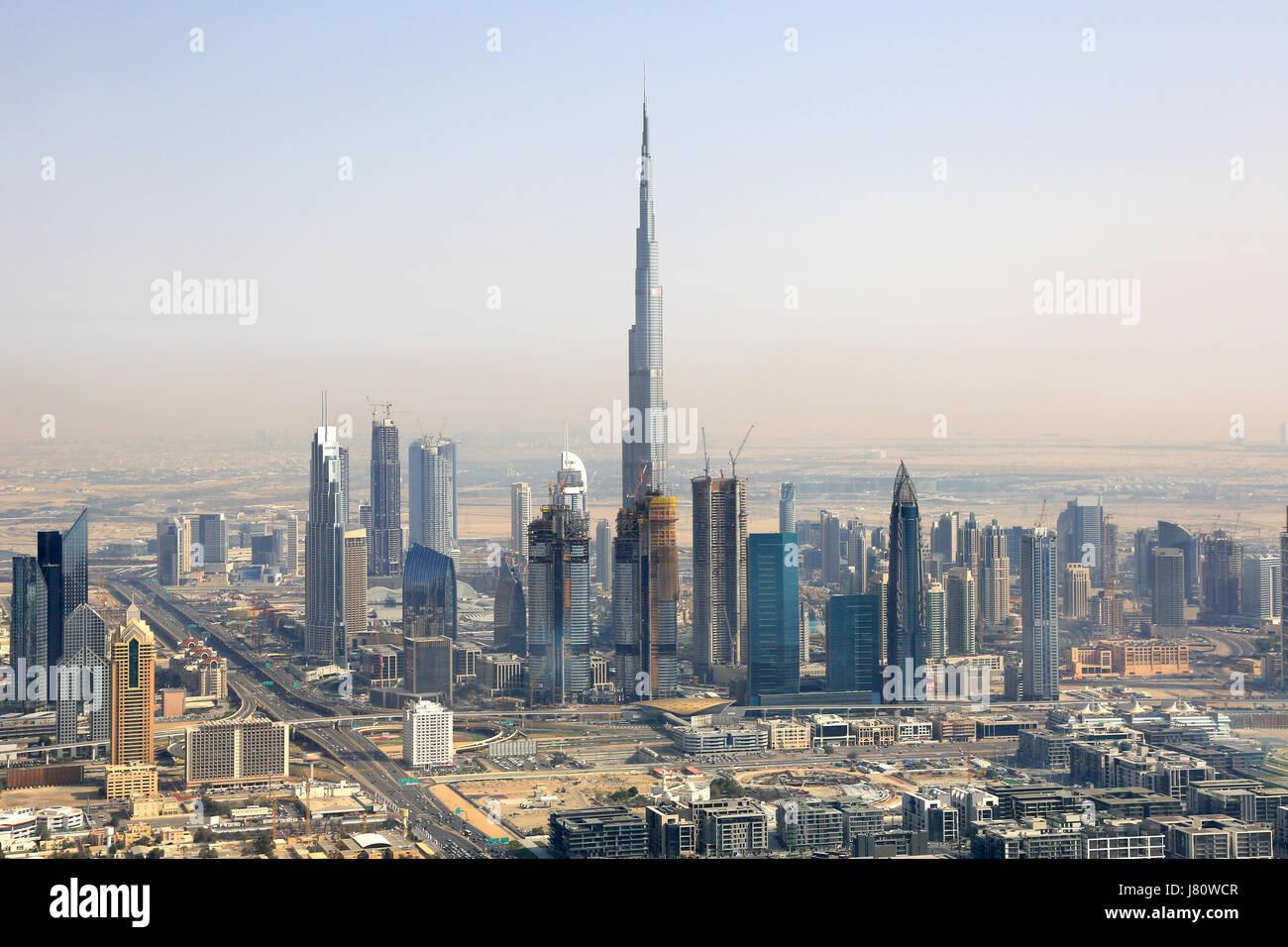 Dubai Burj Khalifa Downtown aerial view photography UAE Stock Photo