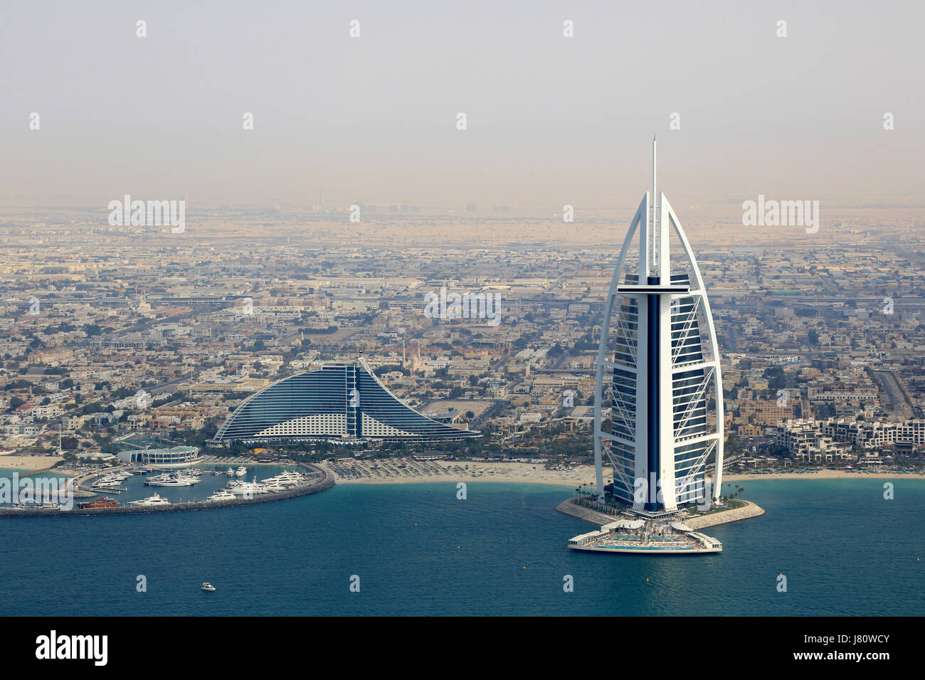 Dubai Burj Al Arab Jumeirah Beach Hotel aerial view photography UAE - Stock Image