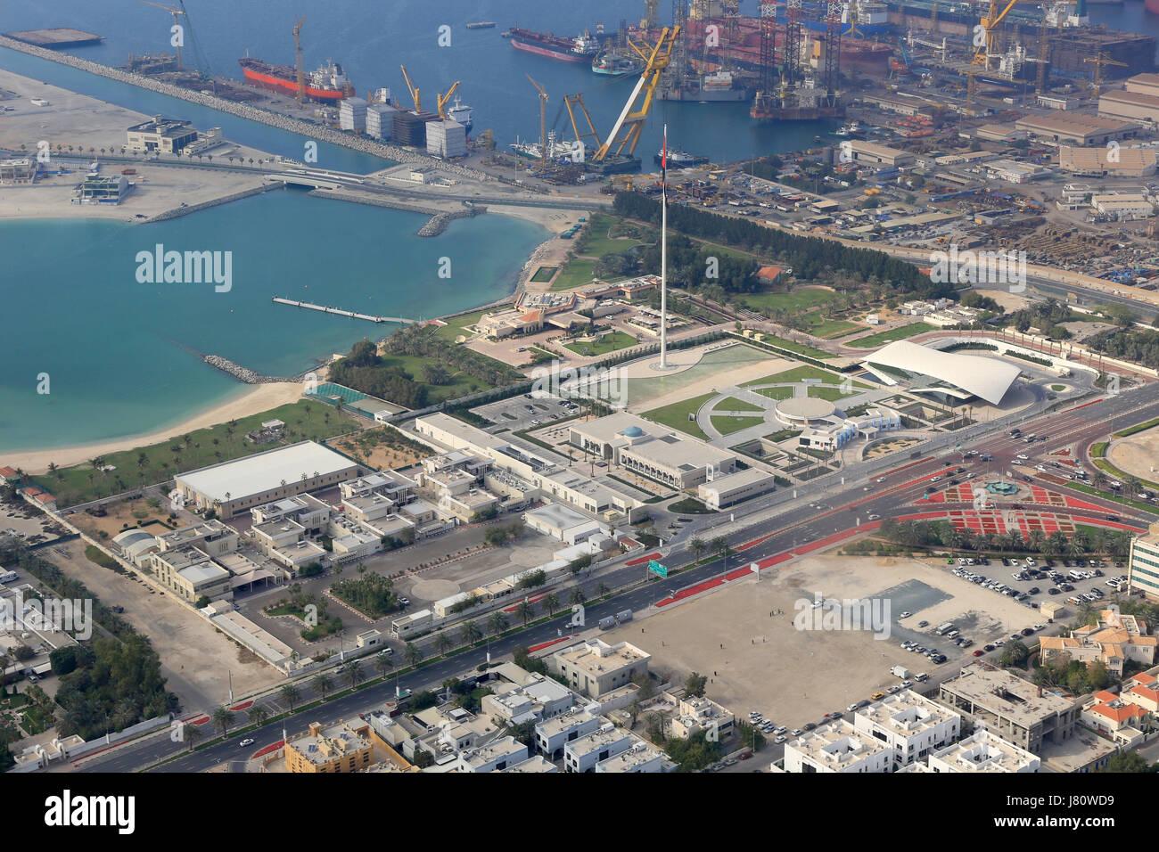Dubai Union House Etihad Museum Jumeirah aerial view photography UAE - Stock Image