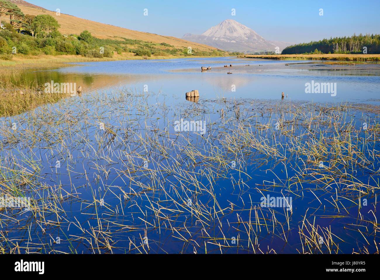 Ireland,County Donegal, Clady River with Mount Errigal in the distance. - Stock Image