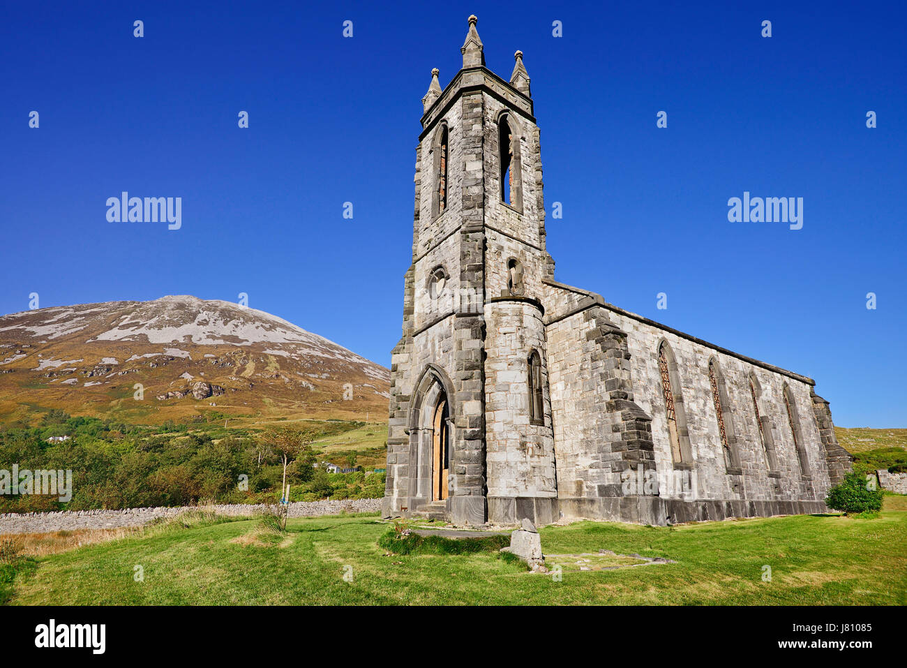 Ireland,County Donegal, Ruin of Dunlewey Church of Ireland building in The Poisoned Glen which was built by Jane - Stock Image