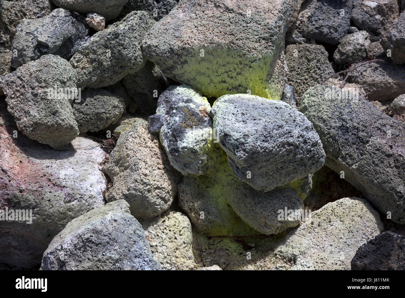 Close up of basalt rock in Volcanoes National Park, Hawaii - Stock Image