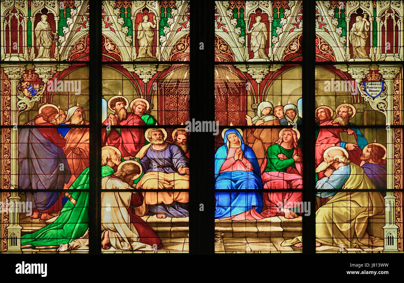 Germany, North Rhine Westphalia, Cologne, Cologne Cathedral, The Bavarian Stained Glass Windows, The Pentecost Window. - Stock Image