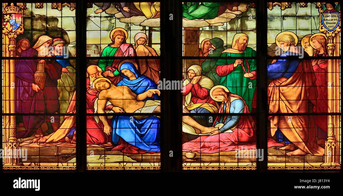 Germany, North Rhine Westphalia, Cologne, Cologne Cathedral, The Bavarian Stained Glass Windows, Window of the Lamentation. - Stock Image