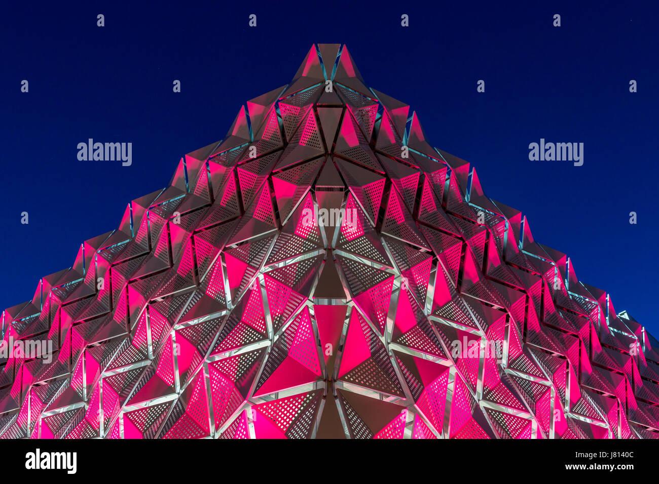 LED illuminated 9 storey multi-storey car park at the University of Leeds in Leeds - Stock Image