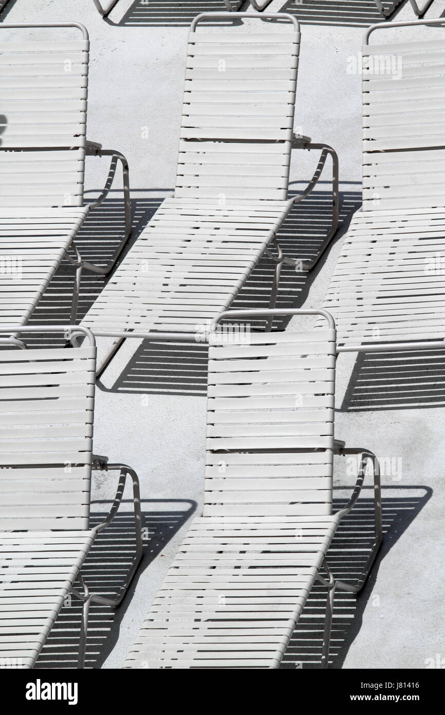 Beach chairs in black and white Stock Photo