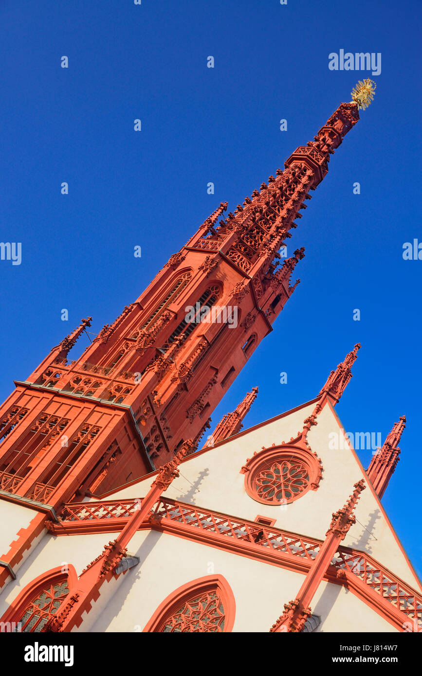Germany, Bavaria, Wurzburg, Marienkapelle, Section of facade and spire. - Stock Image