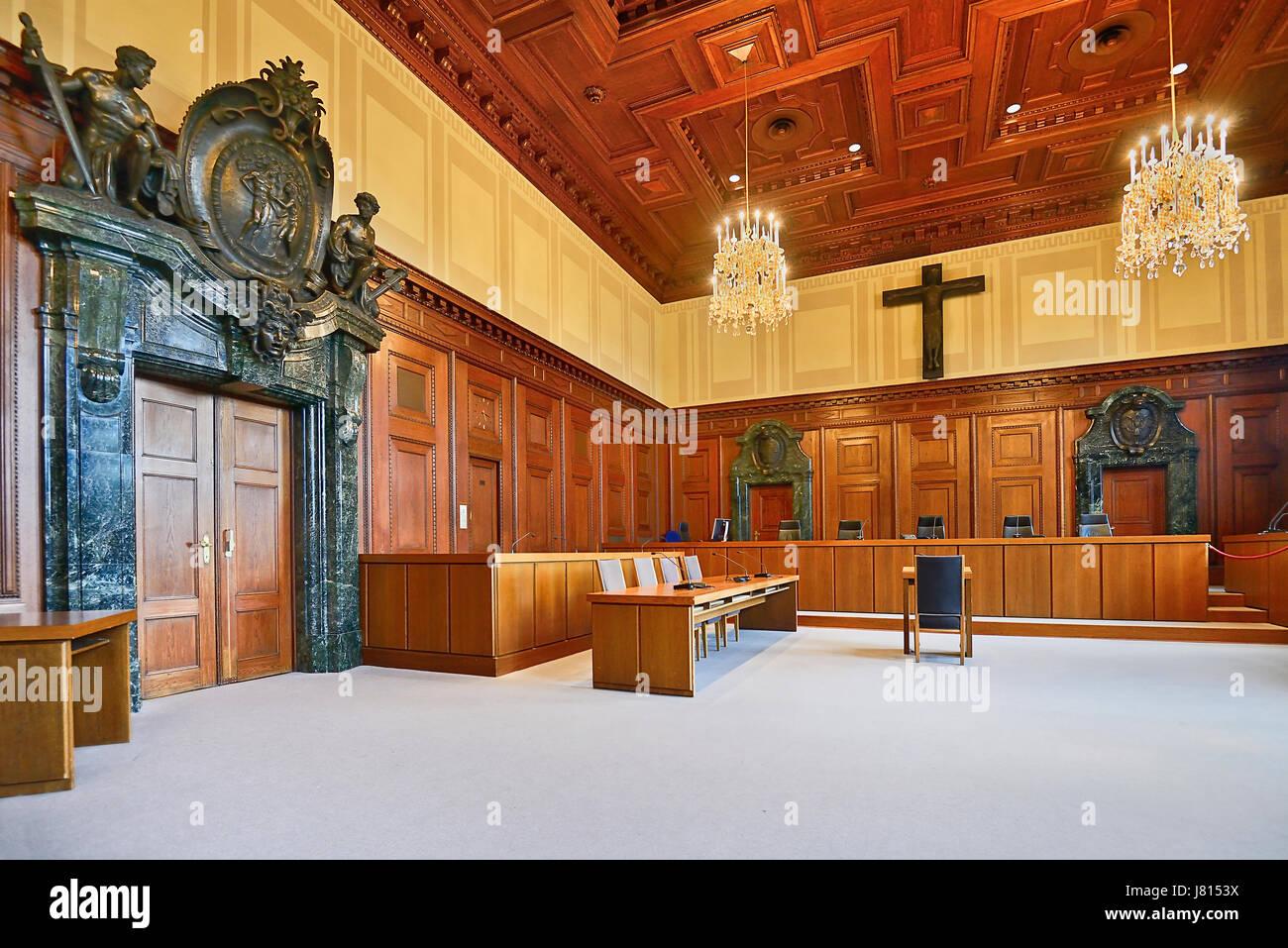 Germany, Bavaria, Nuremberg, Nuremberg Palace of Justice, Memorium Nuremberg Trials Museum, Courtroom 600. - Stock Image