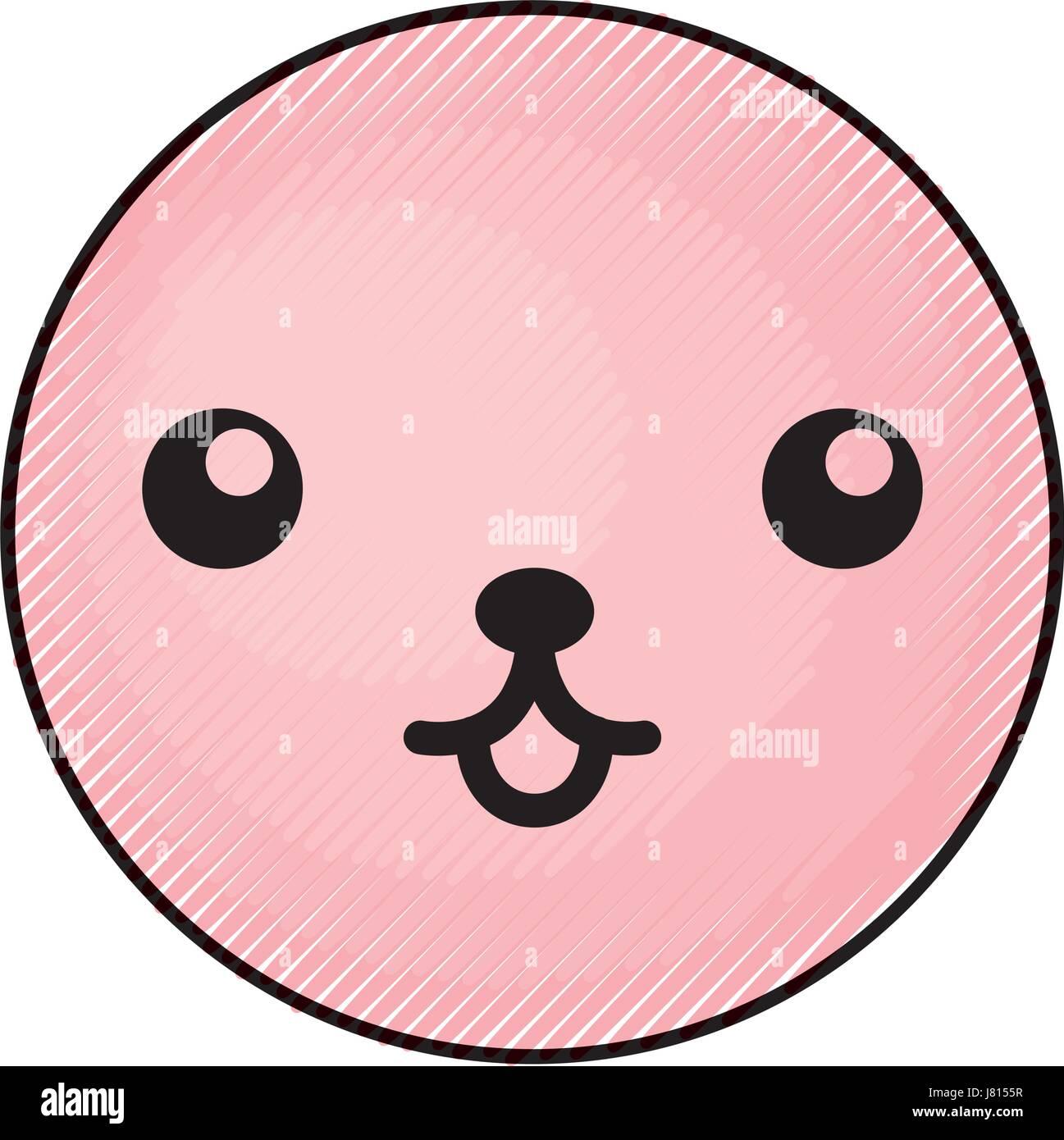 cute pink kawaii emoticon face - Stock Vector