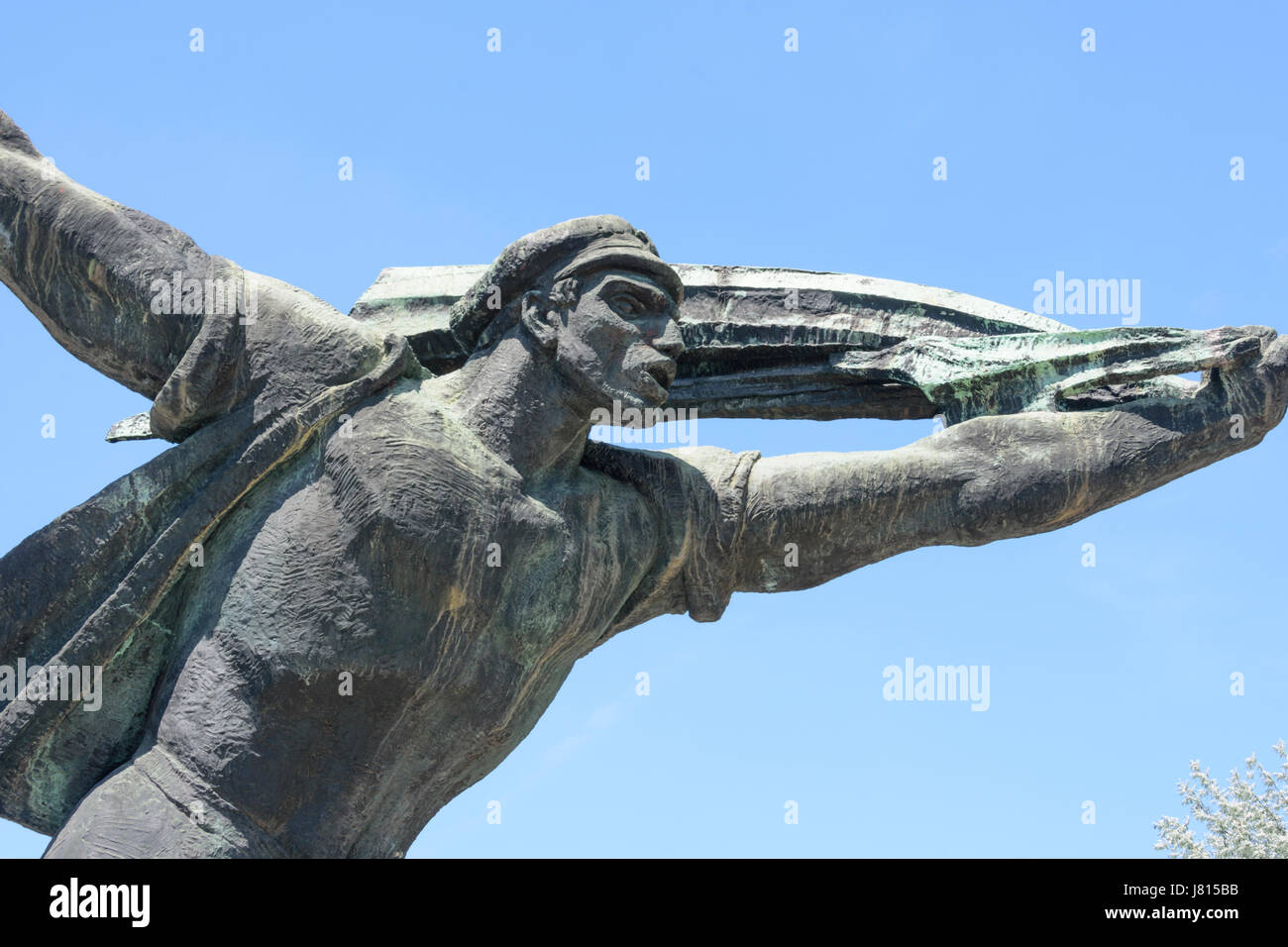 Memento Park, Budapest, Hungary. The Republic of Councils Monument, based on a 1919 revolutionary poster - Stock Image
