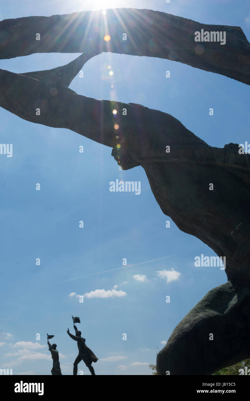 Memento Park, Budapest, Hungary. Backlight photo of The Republic of Councils Monument, - Stock Image