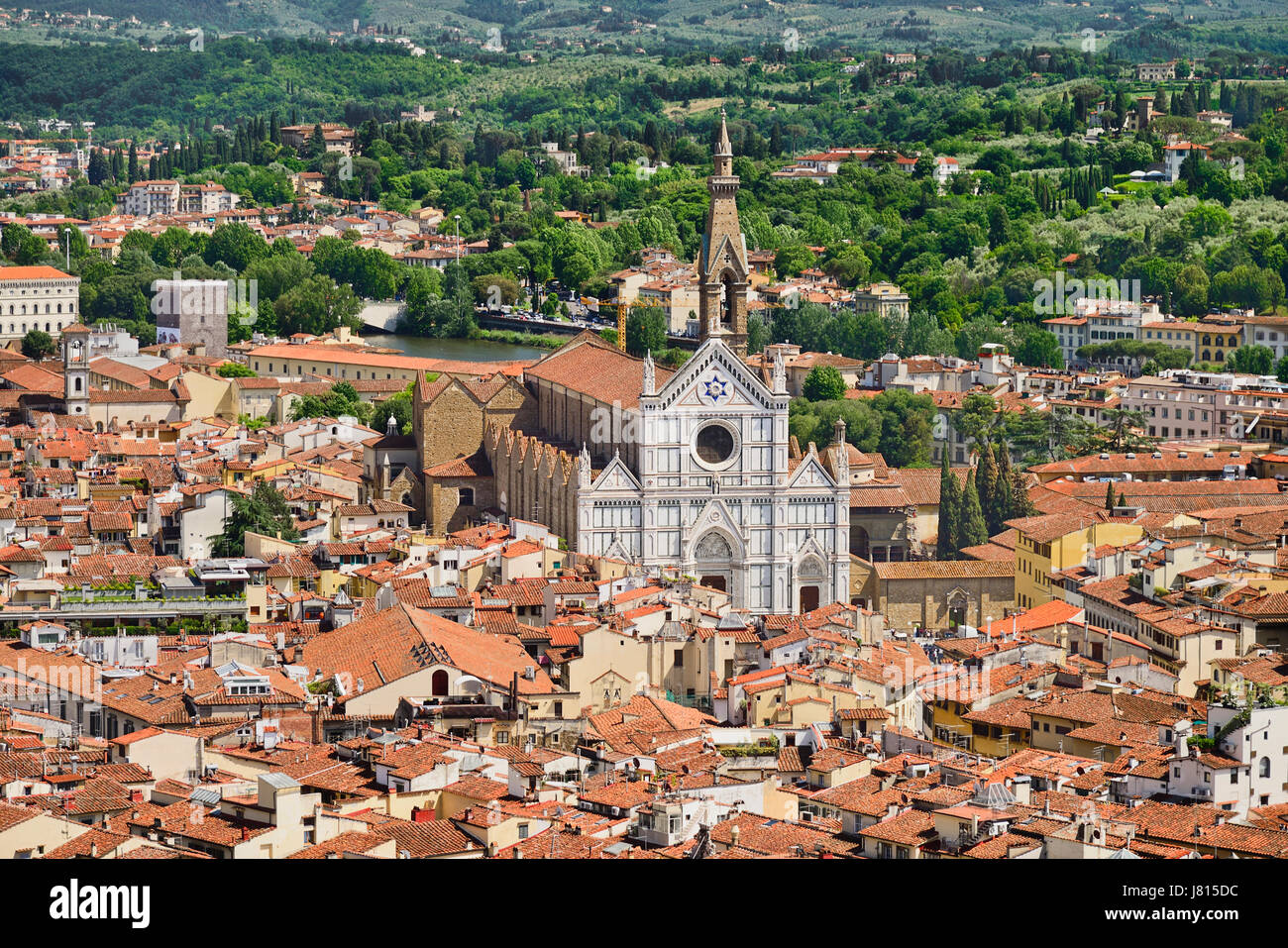 Italy, Tuscany, Florence, The 19th century marble facade of the 13th century Gothic church of Santa Croce containing - Stock Image