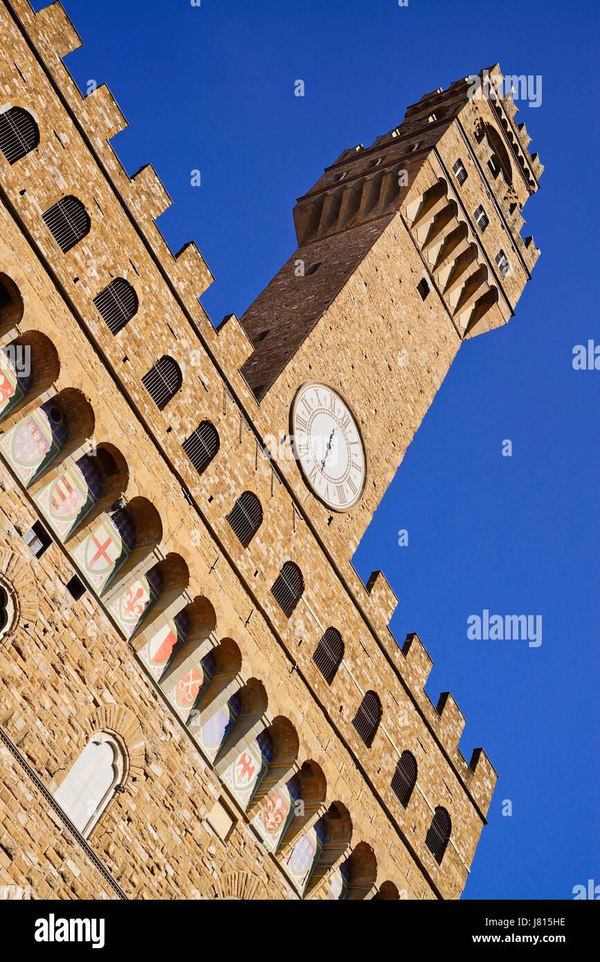 Italy, Tuscany, Florence, Piazza della Signoria, Palazzo Vecchio. - Stock Image