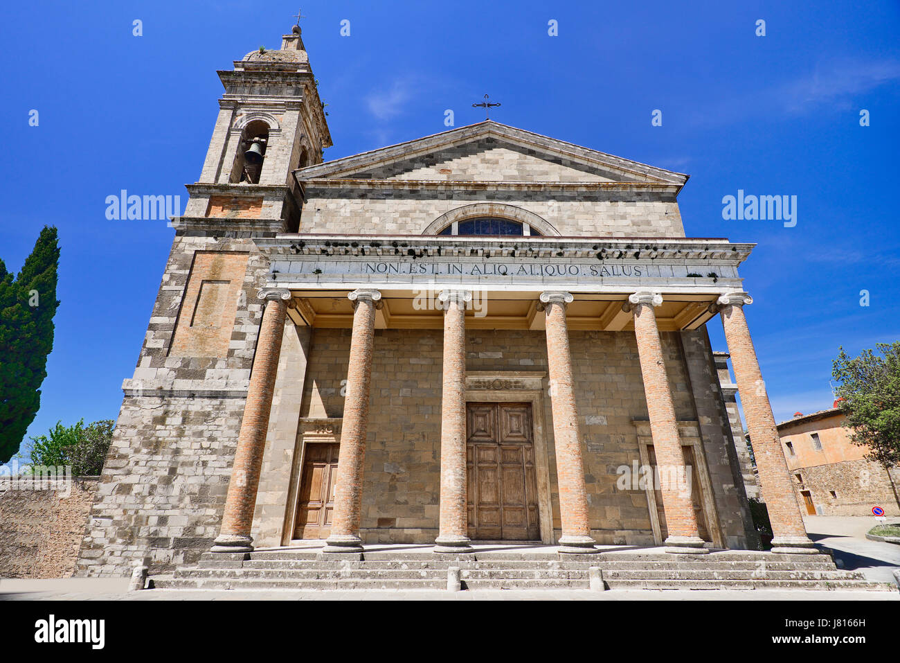 Italy, Tuscany, Val D'Orcia, Cathedral of San Salvatore. - Stock Image