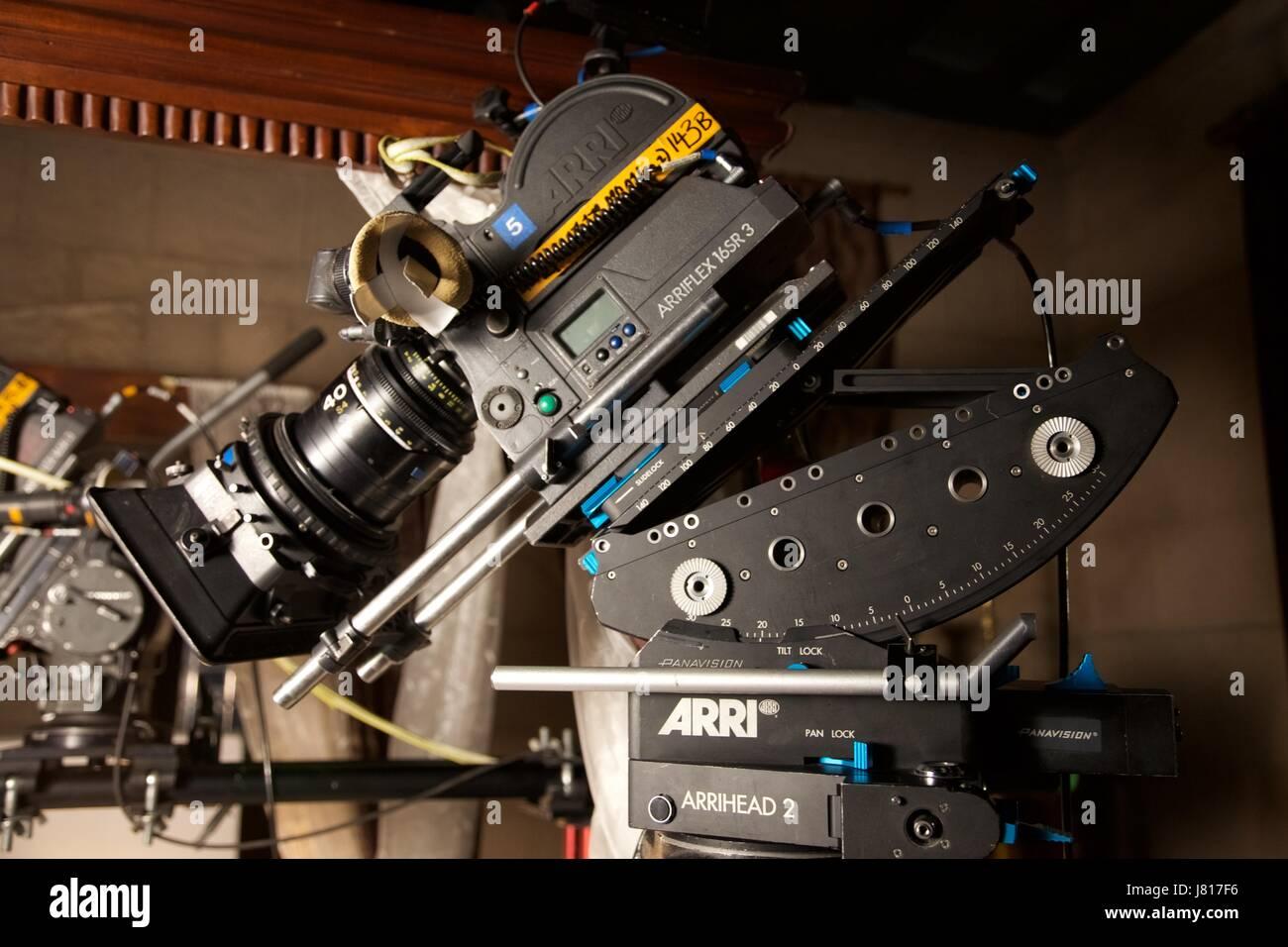 Arriflex SR3 super 16mm film cameras on set Stock Photo