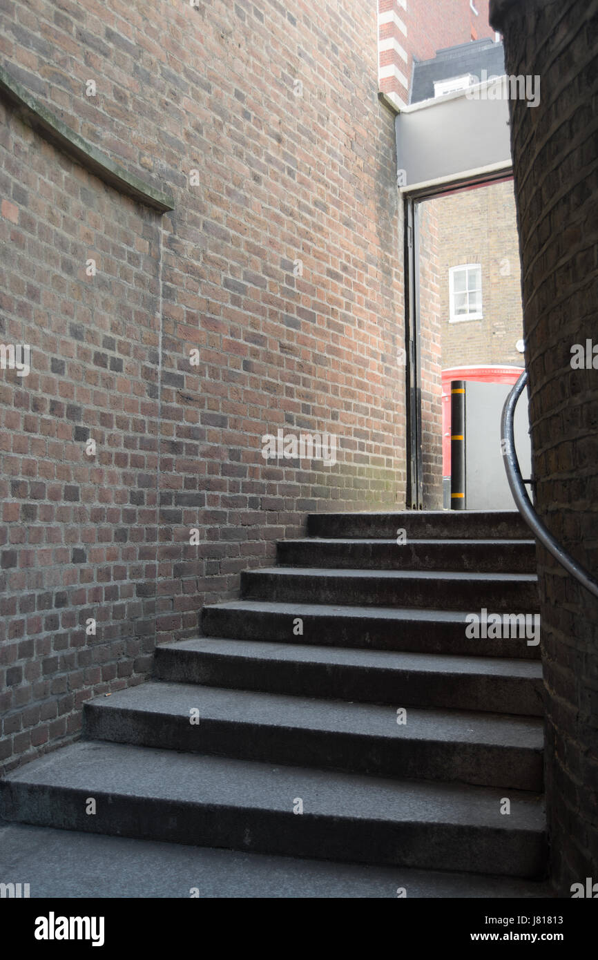 cockpit steps, an allegedly haunted flight of steps between birdcage walk and queen annes gate in westminster, london, Stock Photo