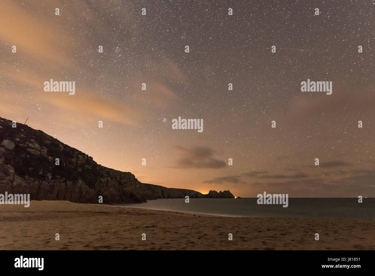 Stars from Porthcurno Beach, Night Sky - Porthcurno, Cornwall, UK - Stock Image
