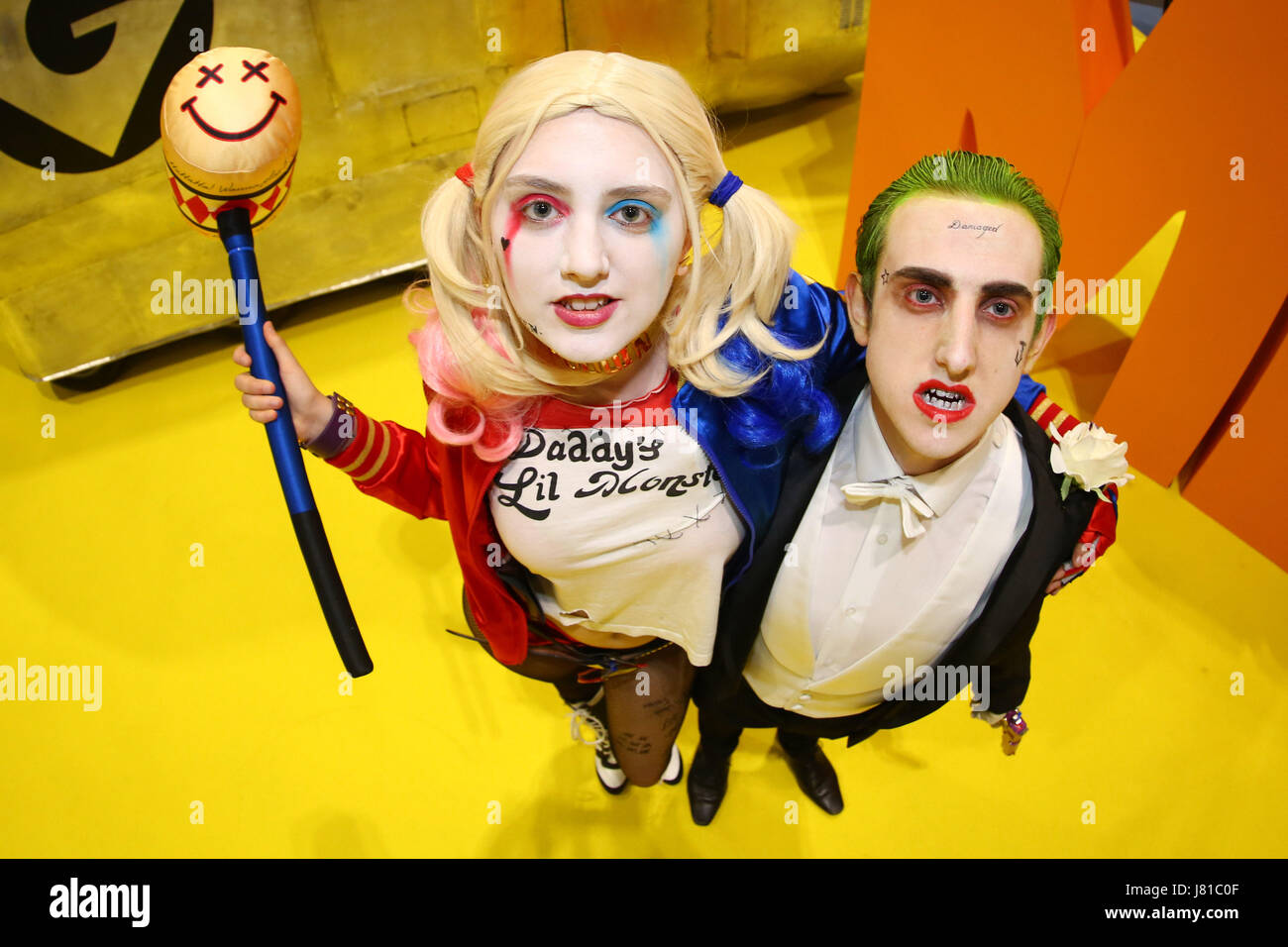London, UK. 26th May 2017. Harley Quinn and the Joker from Suicide Squad at the opening day of MCM Comic Con at - Stock Image