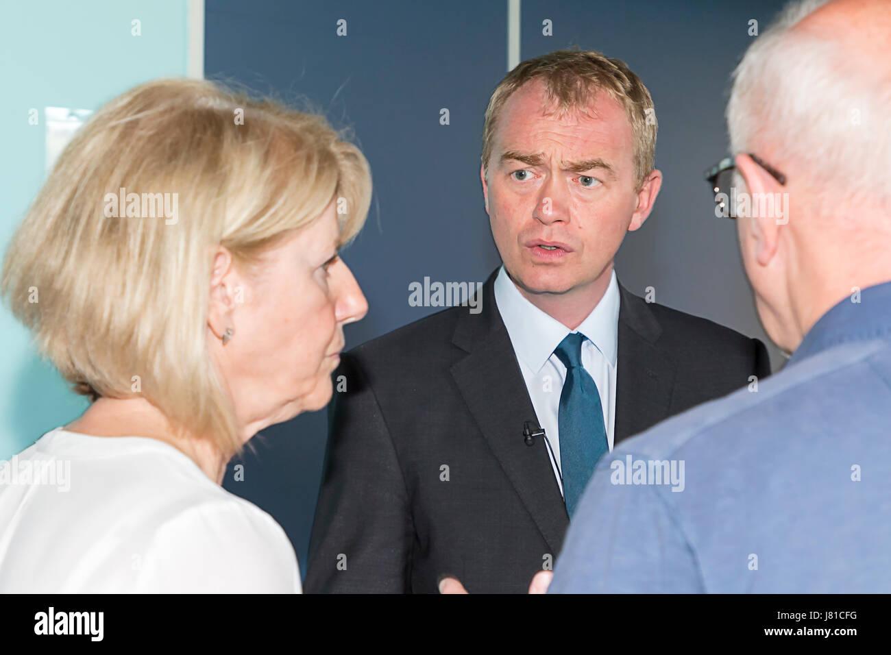 Warrington, UK. 26th May, 2017. Warrington, UK. 26th May, 2017. Leaader of the Liberal Democrats, Tim Farron, talks - Stock Image