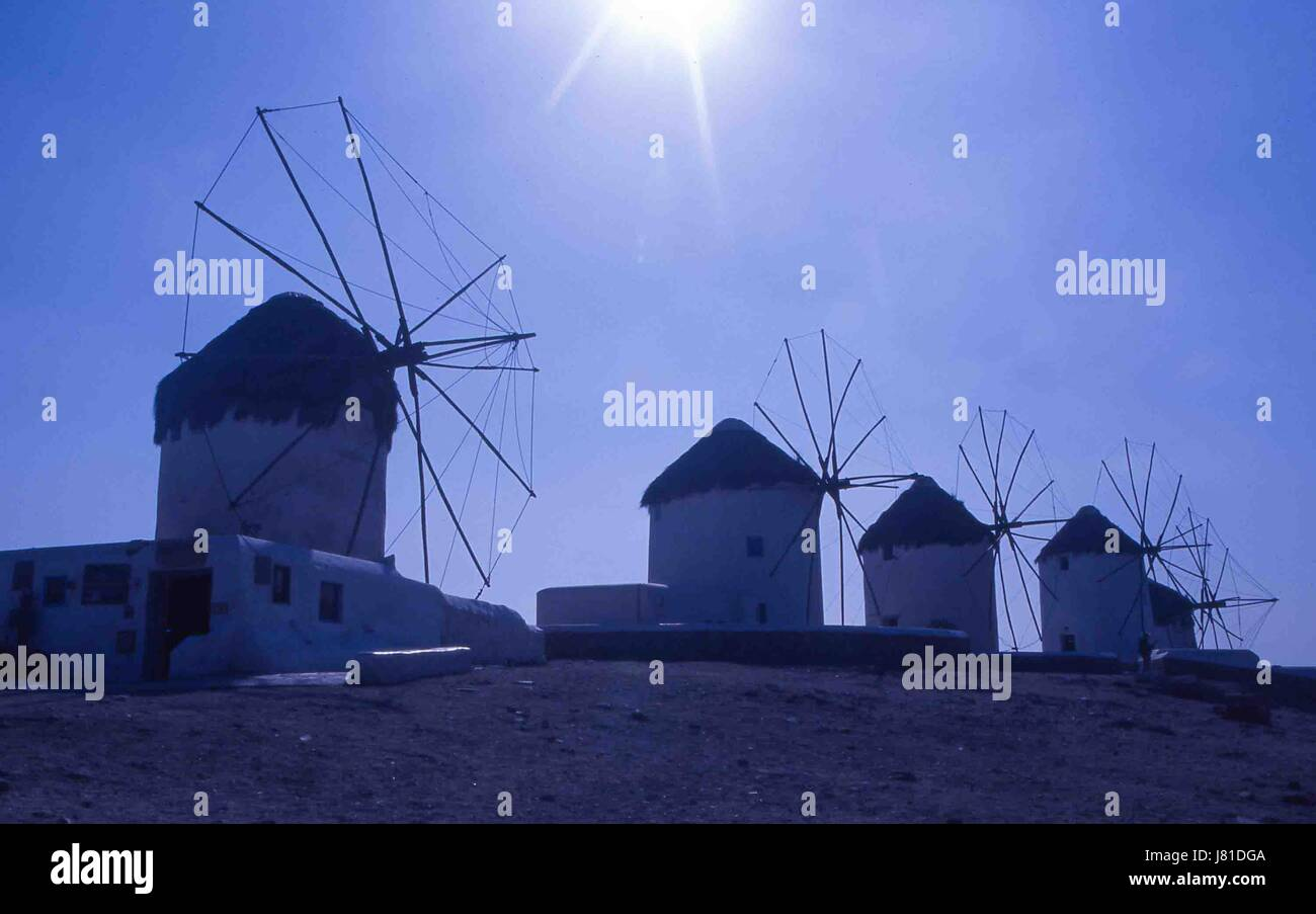Chora, Mykonos, Greece. 3rd Oct, 2004. The famous iconic windmills (Kato Mili) in Chora, Mykonos, stand in a row Stock Photo