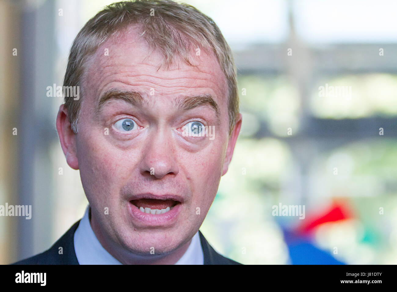 Warrington, UK. 26th May, 2017. Leader of the Liberal Democrats, Tim Farron, visited the Warrington Peace Centre - Stock Image
