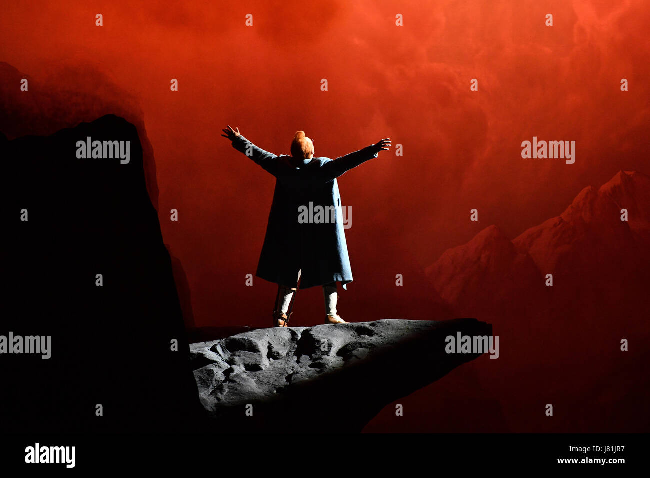 Berlin, Germany. 23rd May, 2017. Tenor Charles Castronovo portraying Faust performs on stage during a photocall - Stock Image