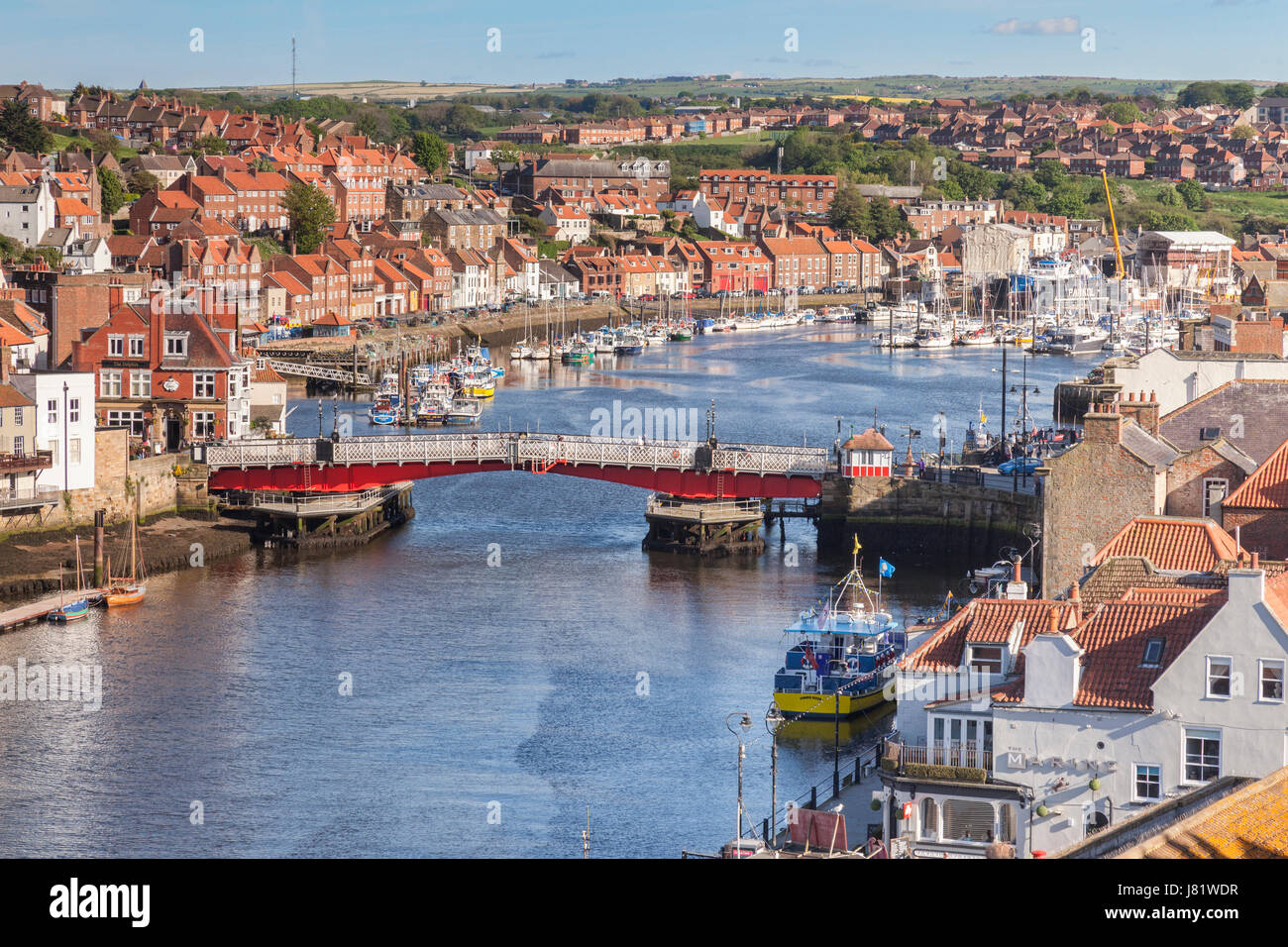 Whitby with the River Esk and the swing bridge, North Yorkshire, England, UK - Stock Image