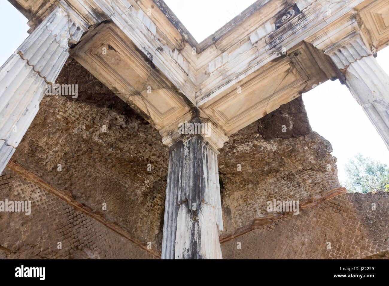 Hall with Doric pillars, Hadrian's Villa (Villa Adriana), Tivoli, Italy - Stock Image