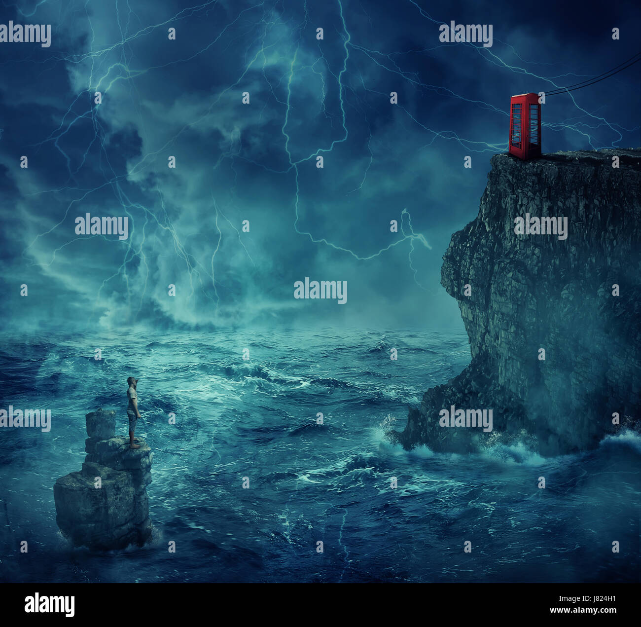 Lost man abandoned in the ocean standing on a rock island, in a stormy night with lightnings in the sky. Looking - Stock Image