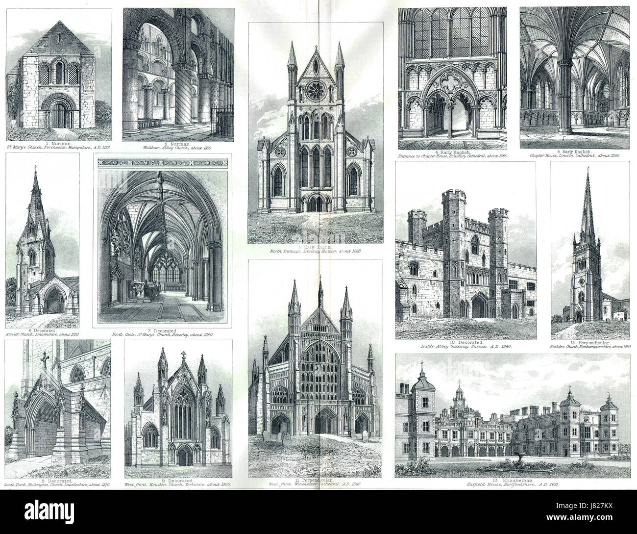 Gothic architecture development in England - Stock Image
