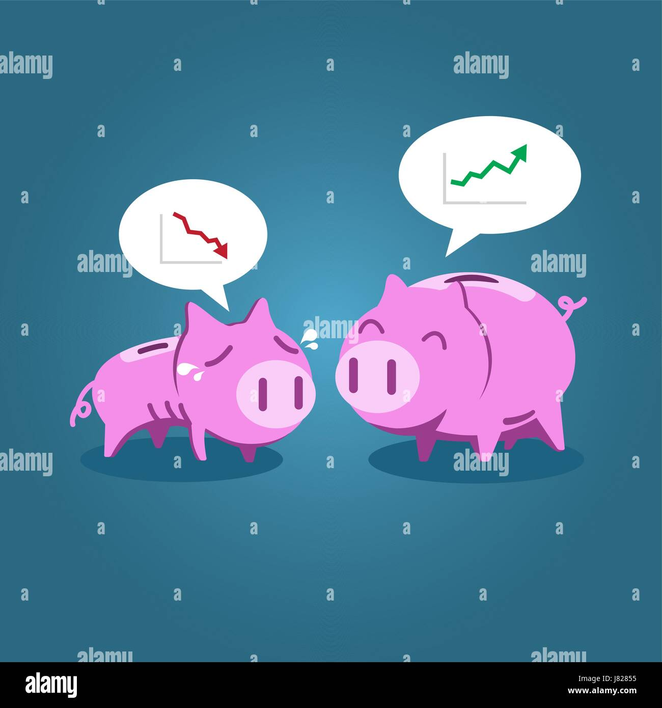 Fat and tiny piggy bank talking about financial situation, vector illustration for economic, investment or financial - Stock Vector