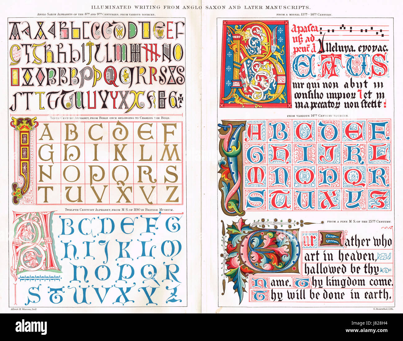 Examples of early illuminated writing Anglo Saxon & later - Stock Image