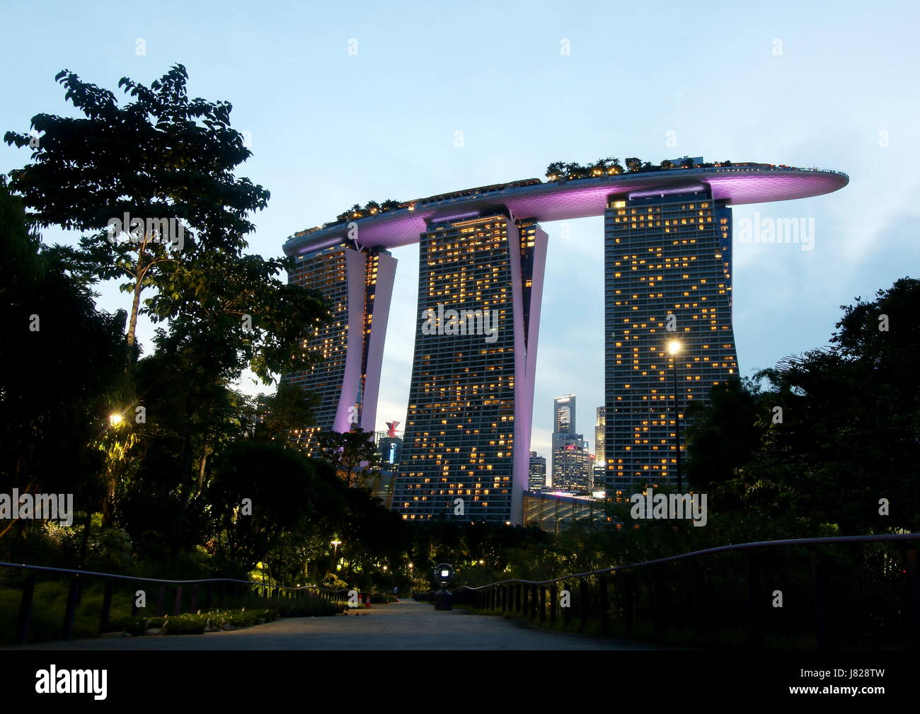 View of Marina Bay Sands as viewed from Gardens by the Bay. - Stock Image