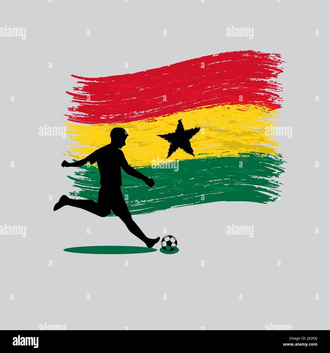 Soccer Player action with Republic of Ghana flag on background - Stock Vector