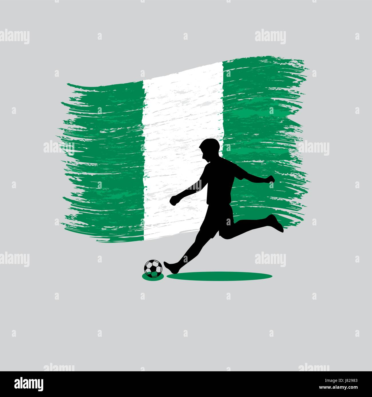 Soccer Player action with Federal Republic of Nigeria on background - Stock Vector