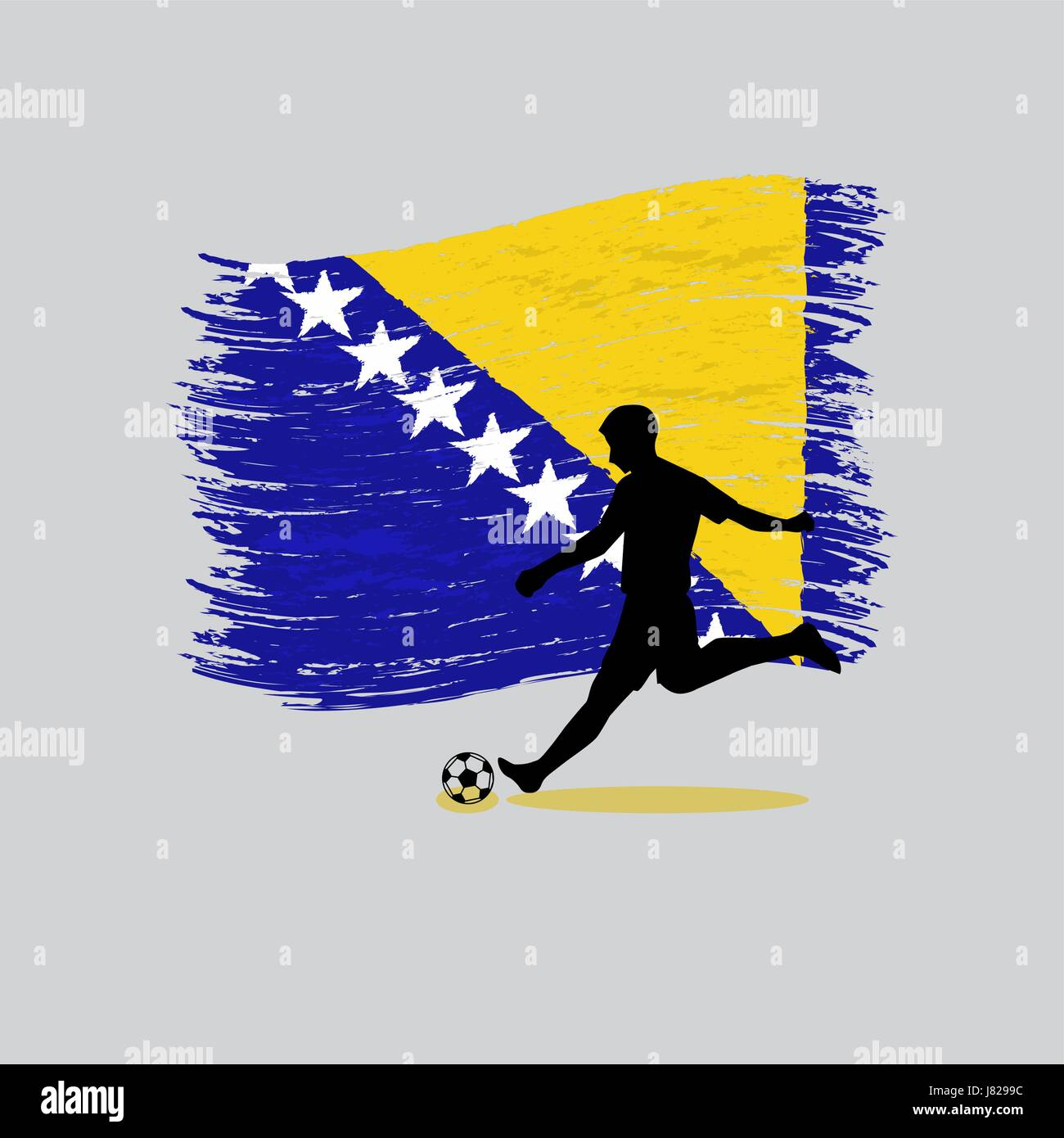 Soccer Player action with Bosnia and Herzegovina flag on background - Stock Vector