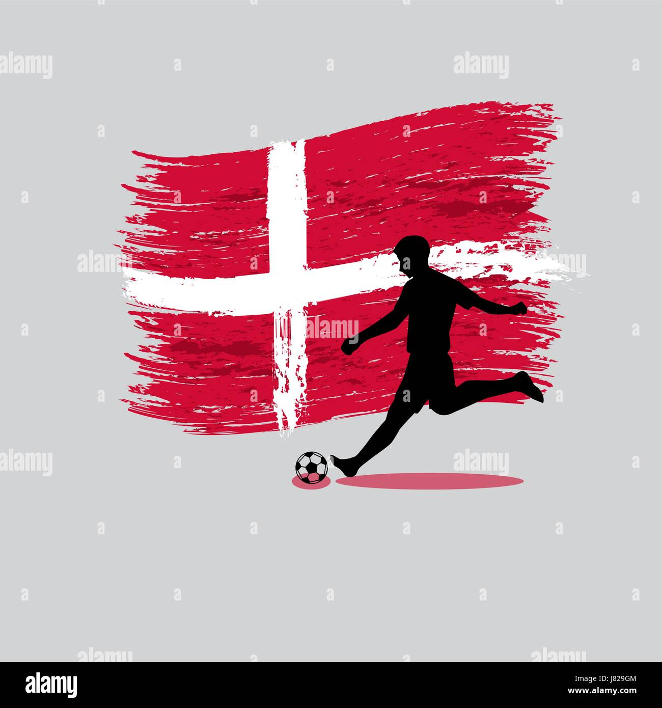 Soccer Player action with Kingdom of Denmark flag on background vector - Stock Image