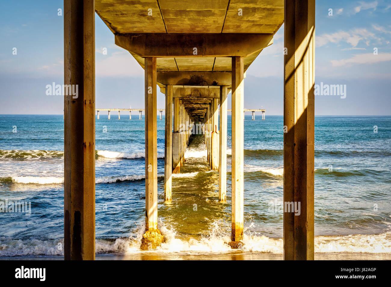 The bottom of the Ocean Beach pier near San Diego, California.