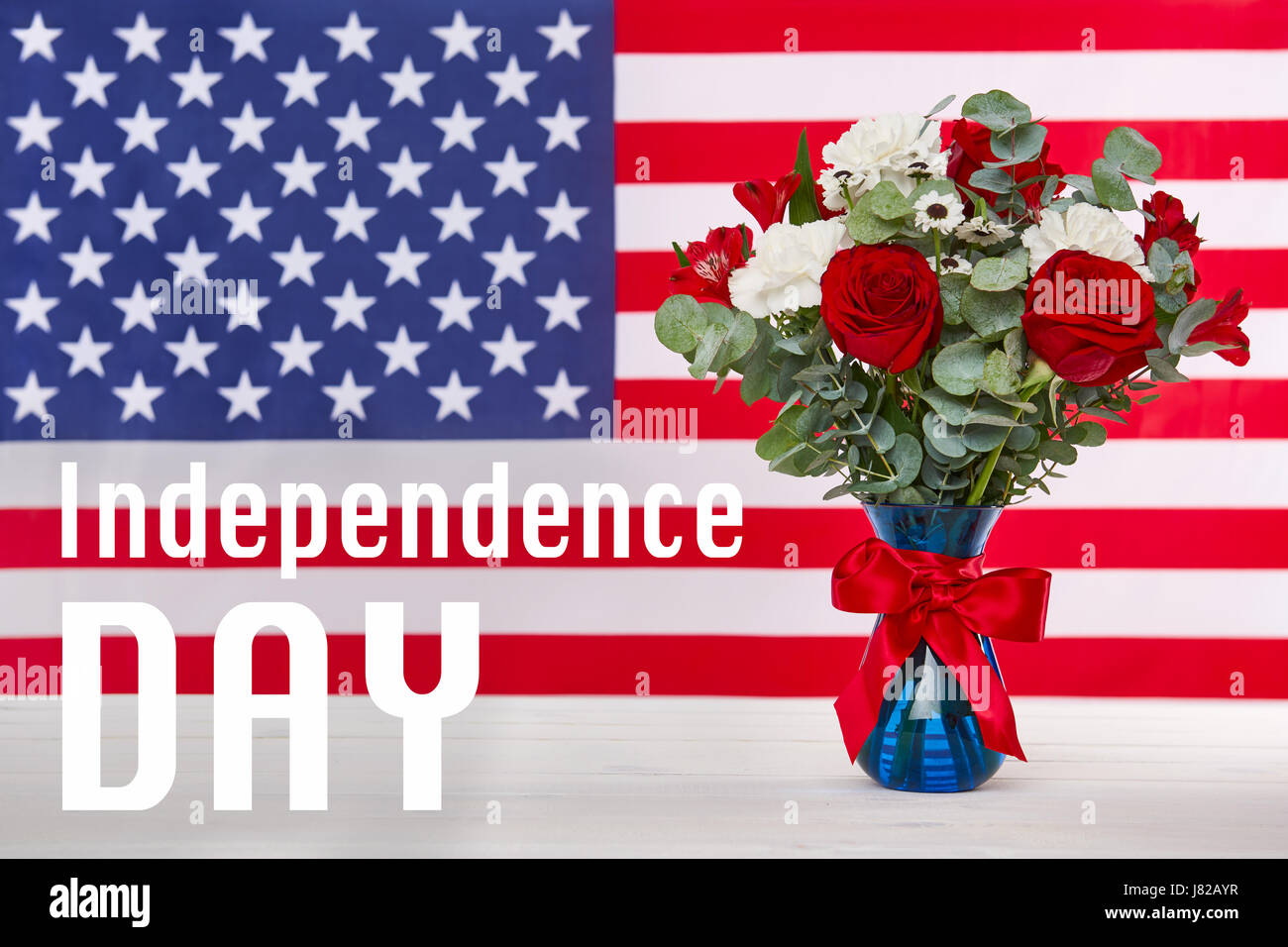 Beautiful Bouquet With American Flag 4th Of July Concept Stock