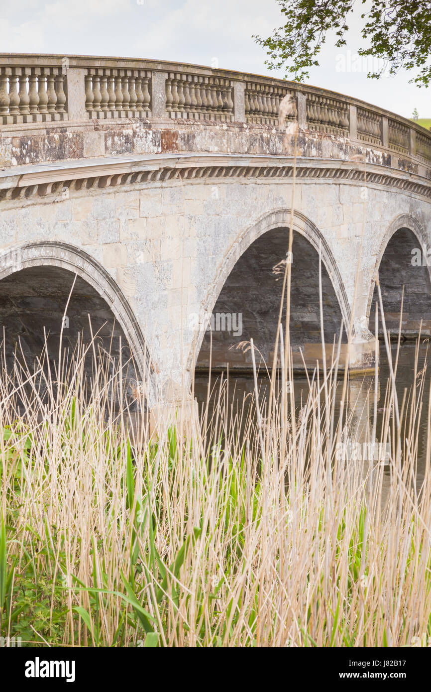 The smal bridge at Compton Verney, Warwickshire UK - Stock Image