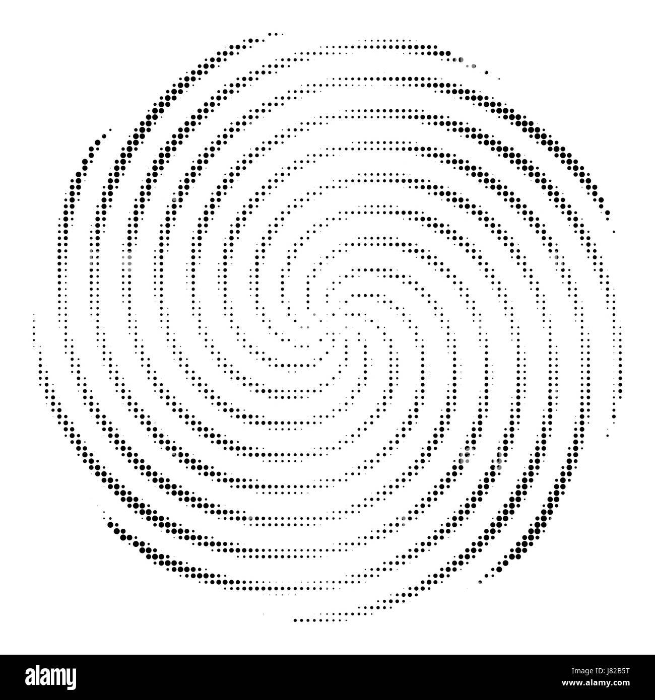 Abstract swirl halftone dot vector - Stock Image