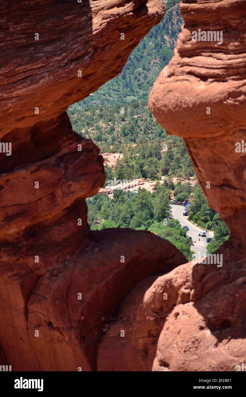 View of the road below the Siamese Twins formation in Garden of the Gods, Colorado Springs, Colorado Stock Photo