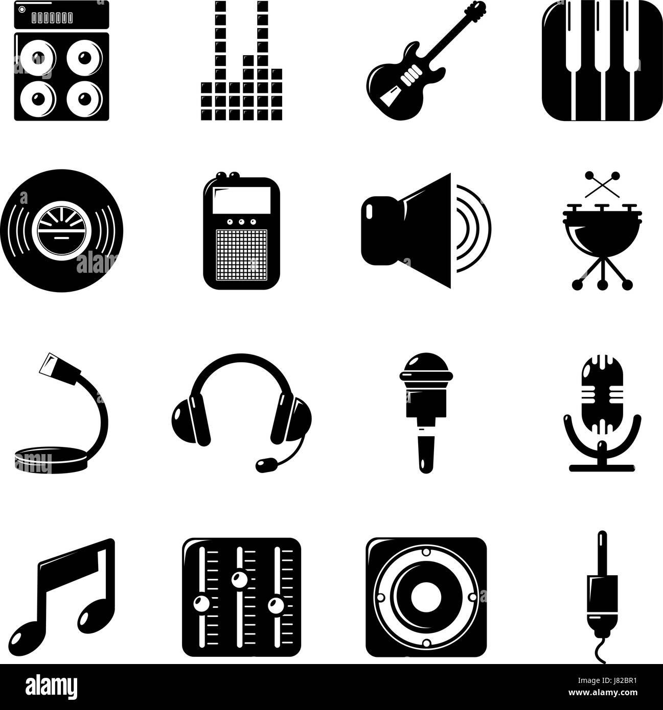 Recording studio symbols icons set, simple style - Stock Image