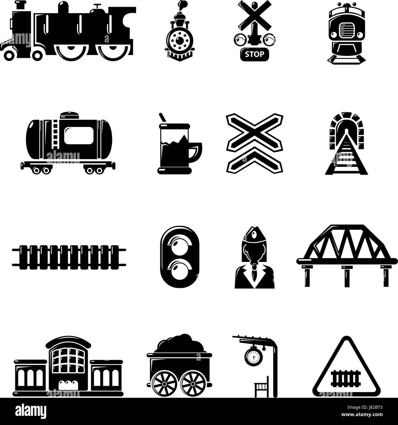 Train railroad icons set, simple style - Stock Vector
