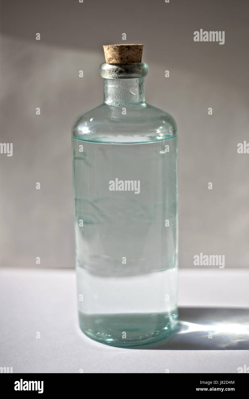 Water transparent crystal bottle - Stock Image