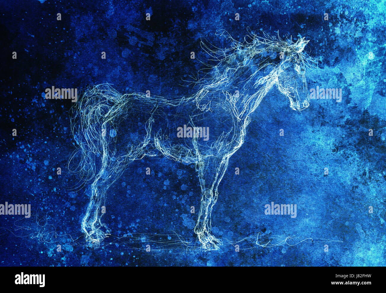Drawing Horse On Old Paper Original Hand Draw Color Effect Stock Photo Alamy